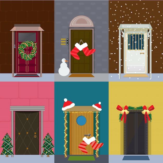 Set di porte d'ingresso piatto di natale Vettore gratuito