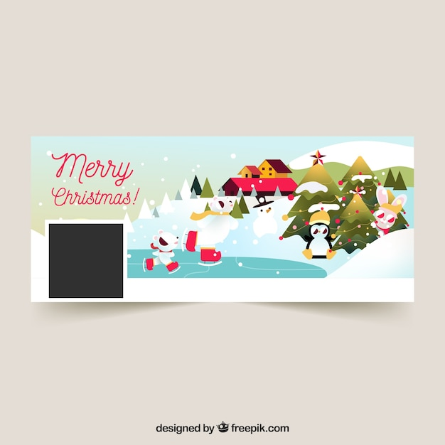 Flat christmas facebook cover Free Vector