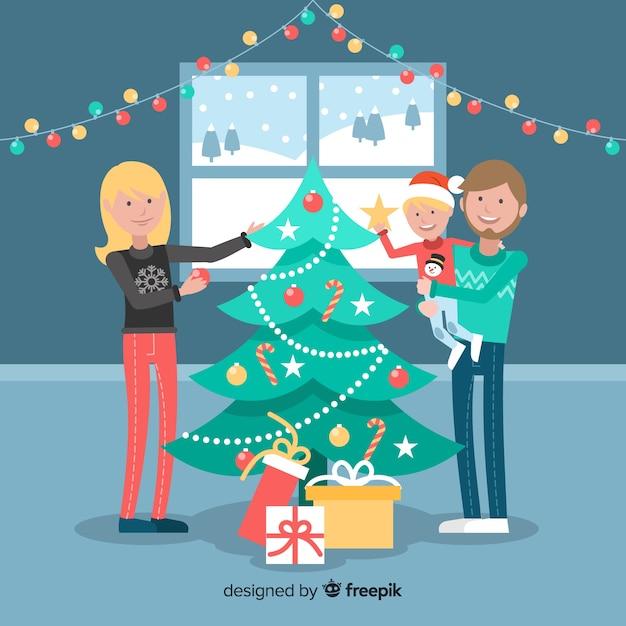 Рождественская семейная сцена Бесплатные векторы