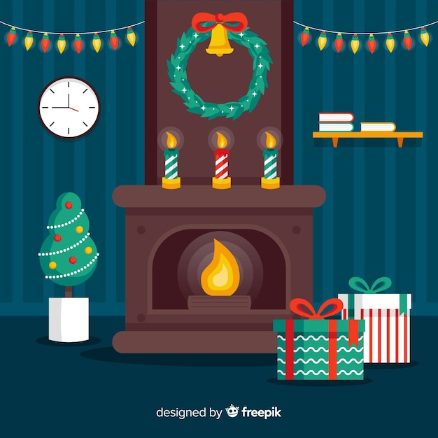 Flat christmas fireplace scene Free Vector