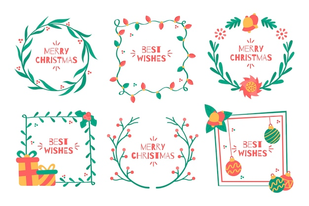Flat christmas frames and borders on white background Free Vector