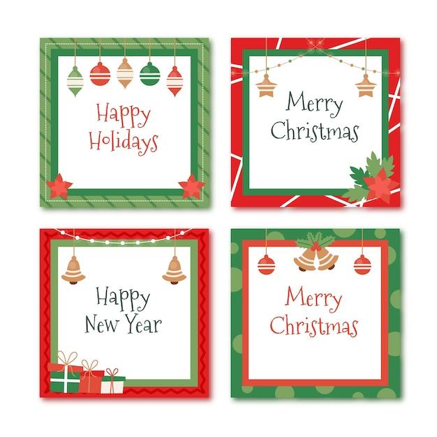 Flat christmas frames and borders Free Vector