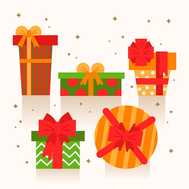Flat christmas gift collection Free Vector