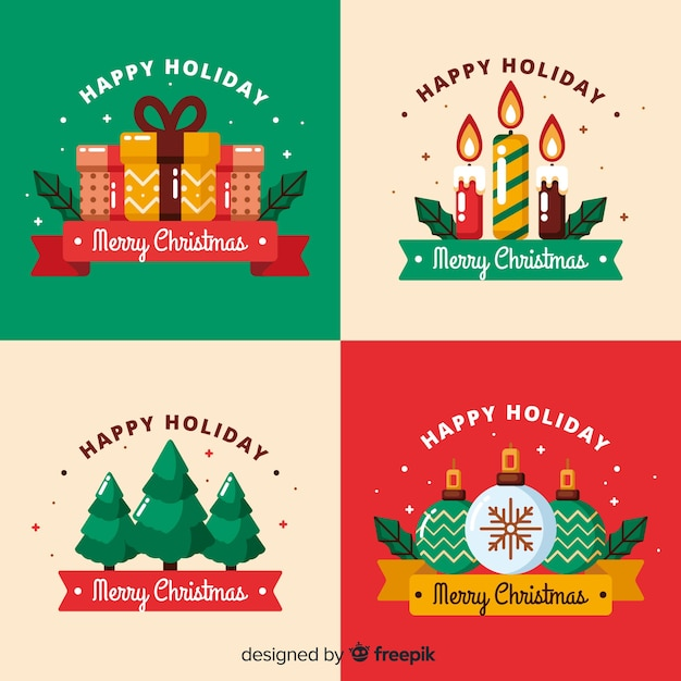 Flat christmas label collection Free Vector