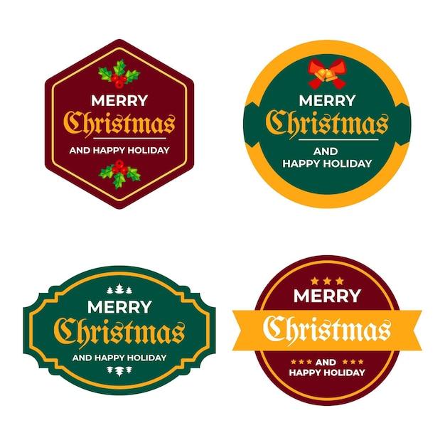 Collezione di etichette natalizie piatte Vettore gratuito