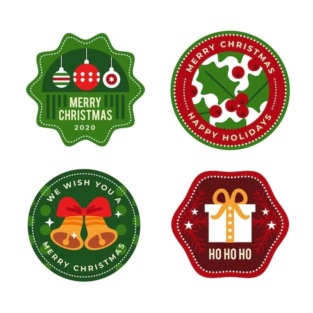 Set di etichette natalizie piatte Vettore gratuito