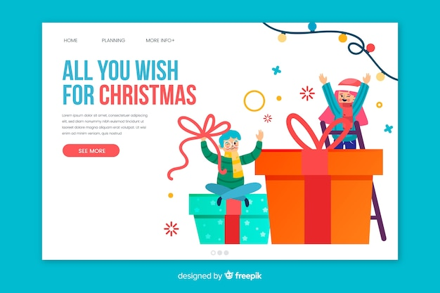 Flat christmas landing page template Free Vector