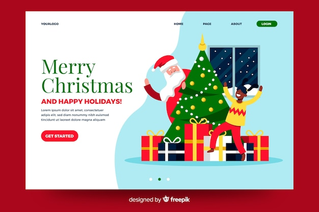 Flat christmas landing page with christmas tree and gifts Free Vector