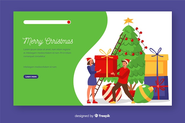 Flat christmas landing page with christmas tree Free Vector