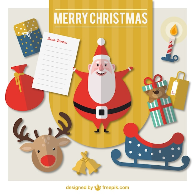 Flat christmas list Free Vector