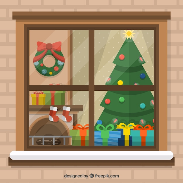 Flat Christmas Living Room Background Free Vector