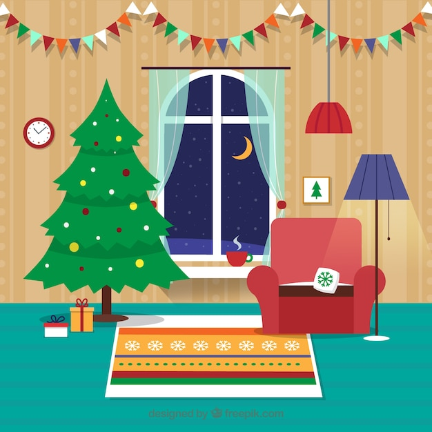 Flat Christmas Living Room Vector Premium Download