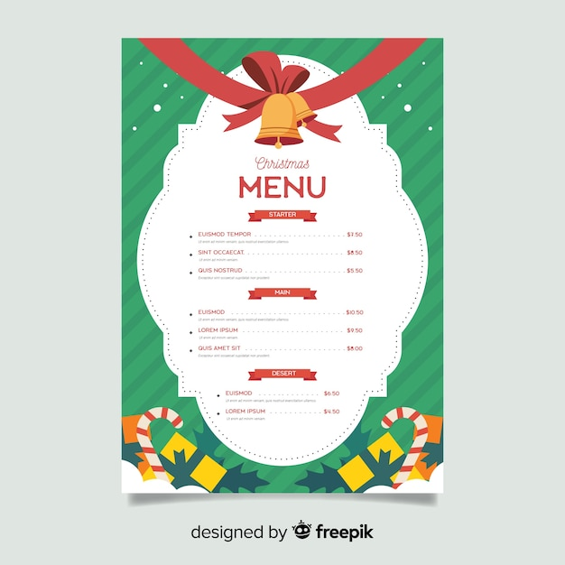Flat christmas menu template with jingle bells Free Vector