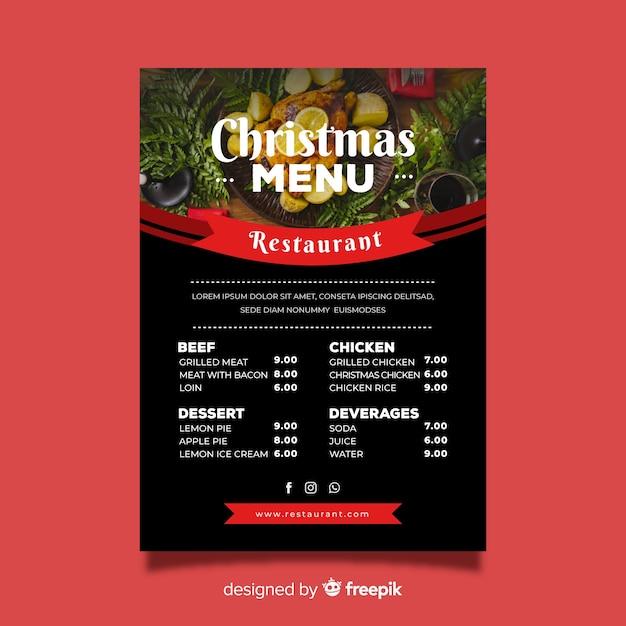 Flat christmas menu template Free Vector