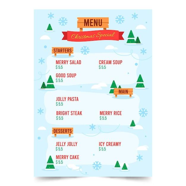Плоский рождественский шаблон меню Premium векторы