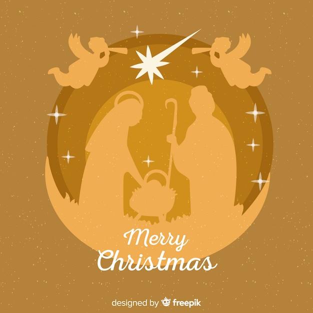 Flat christmas nativity scene Free Vector