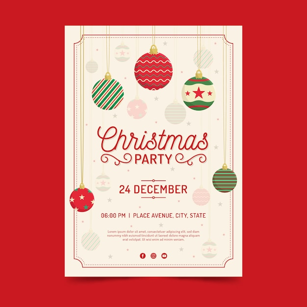Flat christmas party flyer template Free Vector