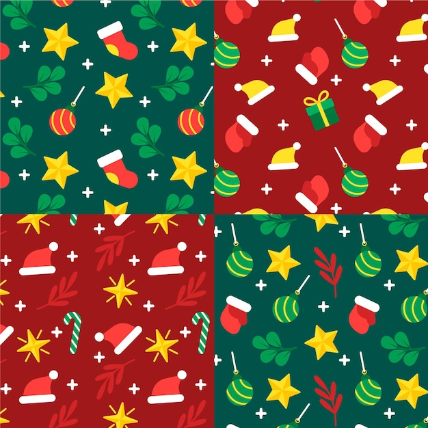 フラットクリスマスパターンコレクション 無料ベクター