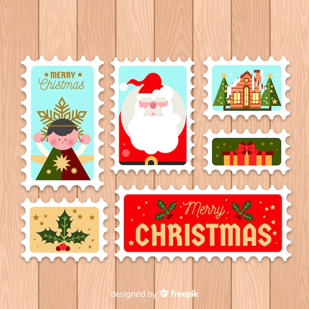 Flat christmas post stamp pack Free Vector