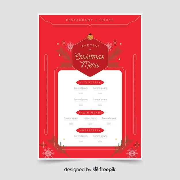Flat christmas red menu template Free Vector