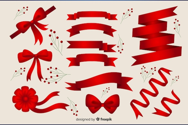 Flat christmas red ribbon collection Free Vector