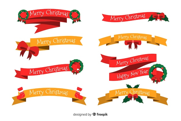 Flat christmas ribbon collection on white background Free Vector