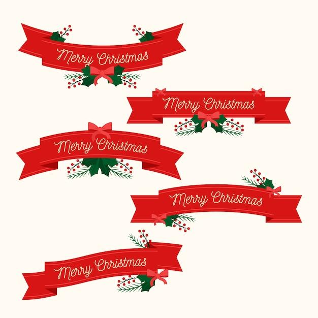 Flat christmas ribbon collection Free Vector