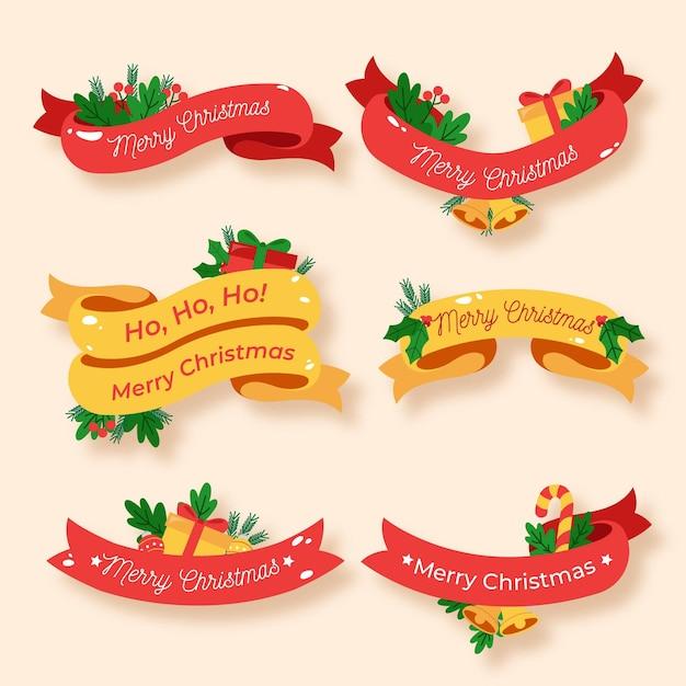 Collezione di nastri natalizi piatti Vettore gratuito