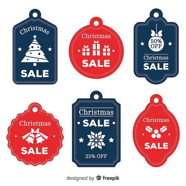 Flat christmas sale label pack Free Vector