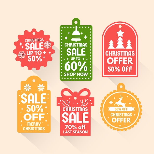 Flat christmas sale tag collection Free Vector