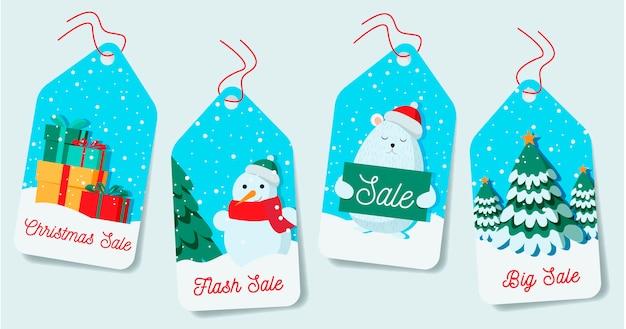 Плоская рождественская распродажа Бесплатные векторы