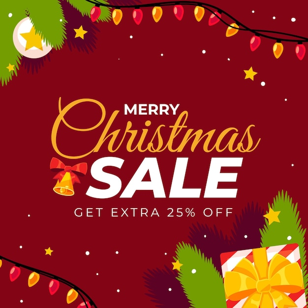 Flat christmas sale template Free Vector
