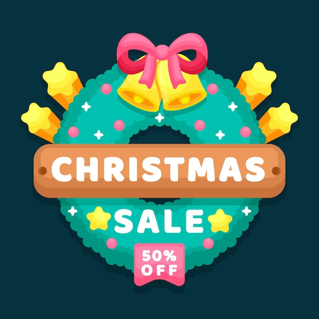Flat christmas sale with discount Free Vector