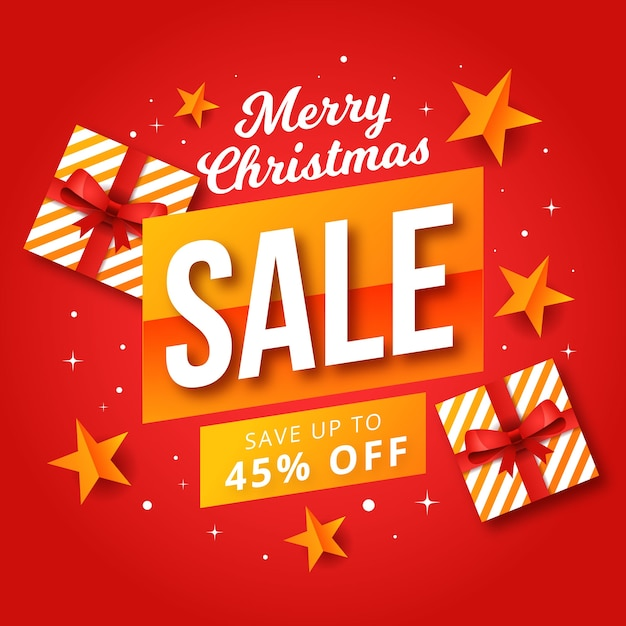 Flat christmas sale with wrapped gift boxes Free Vector