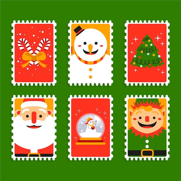 Плоская рождественская коллекция марок Бесплатные векторы