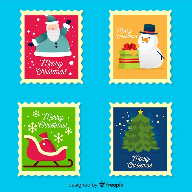 Flat christmas stamp Free Vector