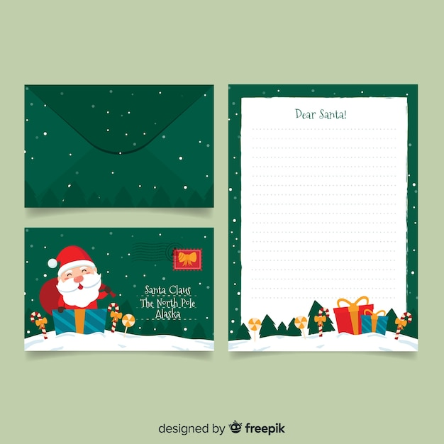 Christmas Stationery.Flat Christmas Stationery Template On Green Background