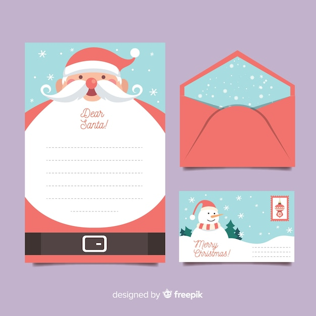 Flat christmas stationery template with santa's beard Free Vector