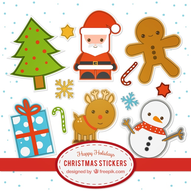 Flat Christmas Stickers Collection Vector Free Download