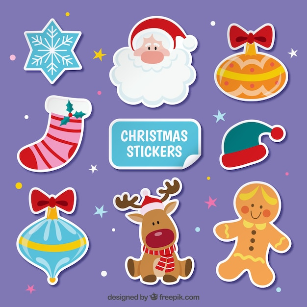 Flat christmas stickers set Free Vector