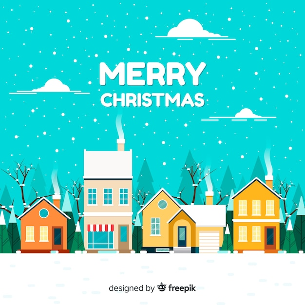 Flat christmas town background Free Vector
