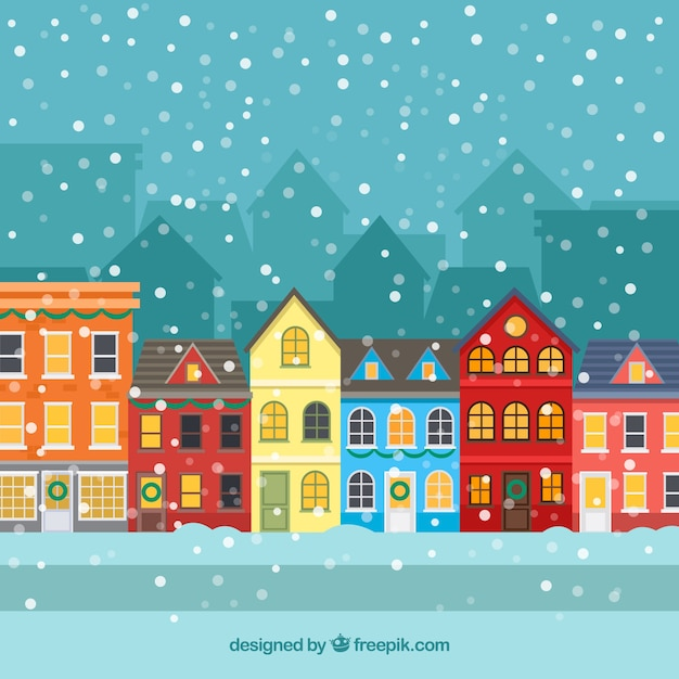 Flat christmas town with snow Free Vector