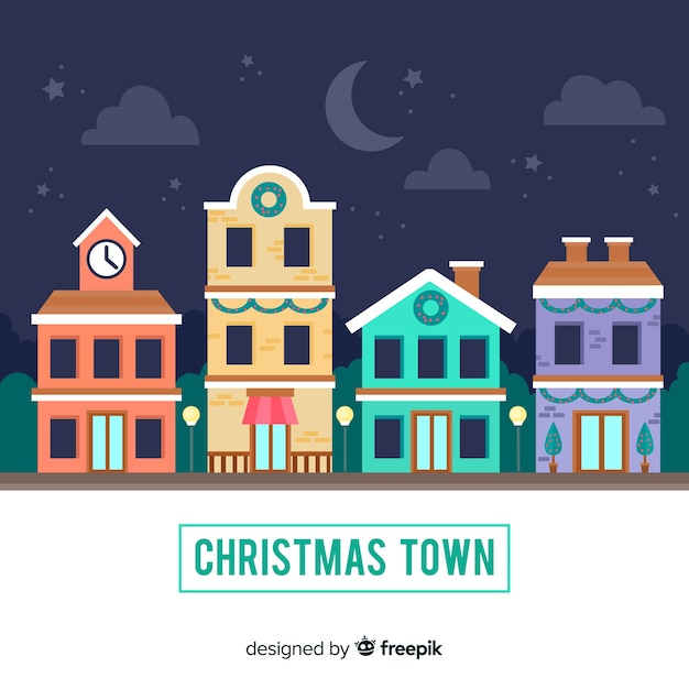 Flat christmas town Free Vector