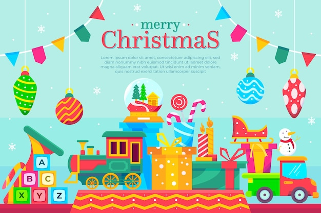 Flat christmas toys background Free Vector
