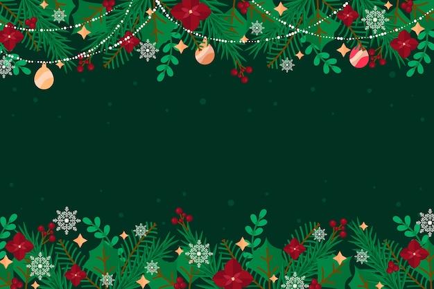 フラットなクリスマスツリーの枝の背景 無料ベクター
