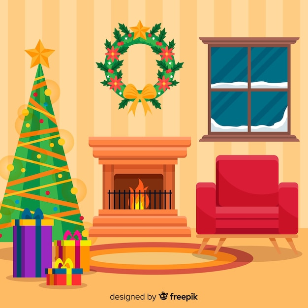 Flat christmas tree christmas fireplace scene Free Vector