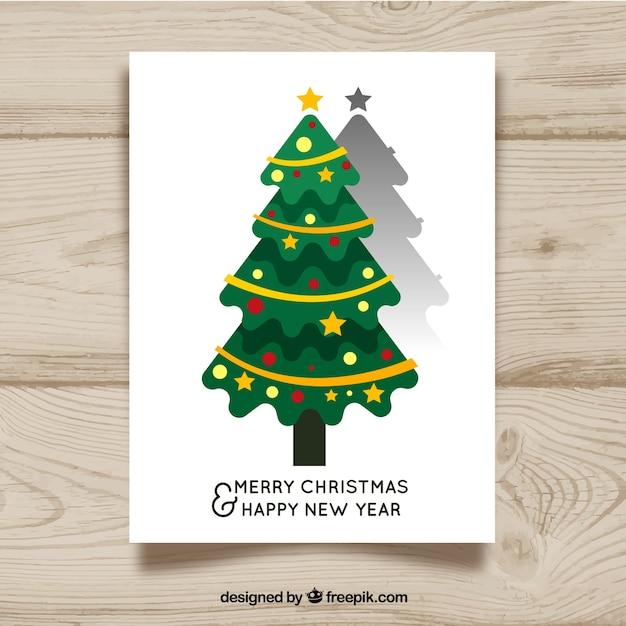 flat christmas tree with long shadow free vector - Flat Christmas Tree