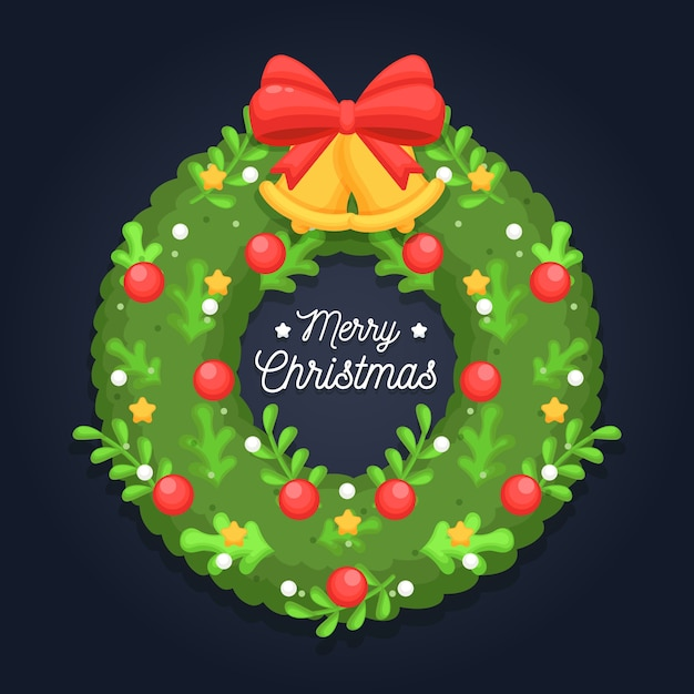 Flat christmas wreath with greeting Free Vector