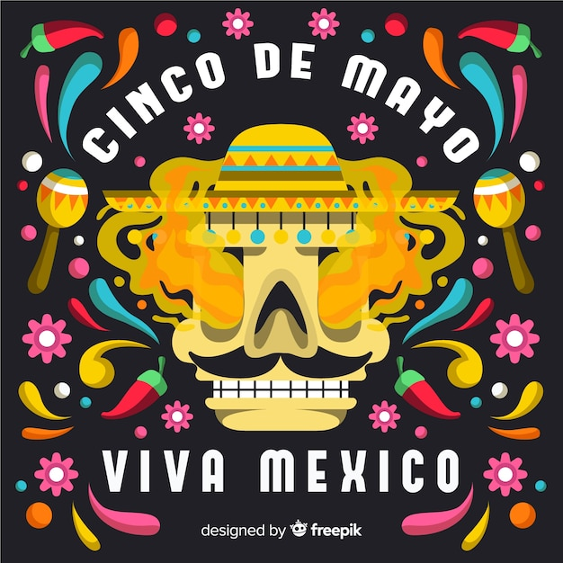 Flat cinco de mayo background Free Vector