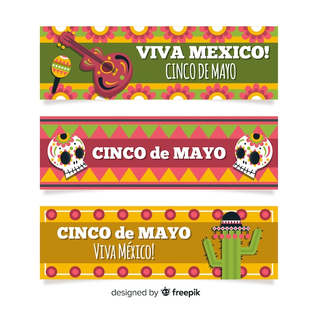 Flat cinco de mayo banners Free Vector